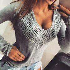 New Fashion Women Sweaters Pullovers Casual V Neck Knitted Sexy Jumper S to XL