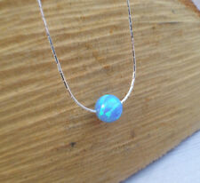 8MM Round Big Bead Lab Opal Necklace 925 Sterling Silver light blue ball pendant
