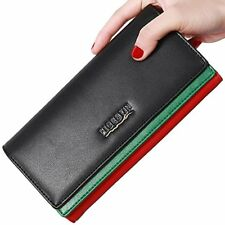 Women Cowhide Leather Wallet Large Capacity Credit Card Holder Clutch Purse