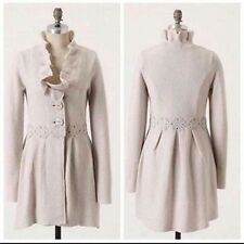 Anthropologie Charlie & Robin Alice In Autumn Sweater Coat ivory 100%wool