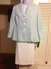 LE SUIT Summer Teal/White 2PC Skirt Suit, Size 16W, 18W, 22W, NWT