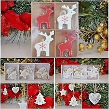 Christmas tree decorations reindeer red and white hearts stars elegant gold