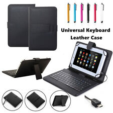 """US For 7""""-8.0 inch Android Tablet Micro USB PU Leather Keyboard Case Cover +Pen"""