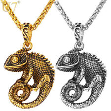 Men Chameleon Necklace Pendant Jewelry Chain Stainless Steel Size: 4.6cm 50-55cm