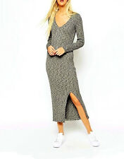 NWT $85 Premium SELECTED Midi Rib Knit Ankle Dress with Deep V neck