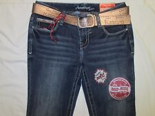 Juniors SLIM BOOT Cut AMETHYST Cindy BLUE JEANS Mid Rise w/ GOLD ACCENTS & BELT