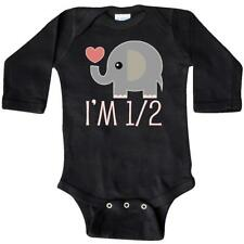 Inktastic Half Birthday Cute Elephant Long Sleeve Creeper 1/2 Im 6 Month Photo