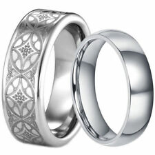 Wedding Anniversary Set His Tungsten Celtic Band and Hers Titanium Ring 6 8 mm