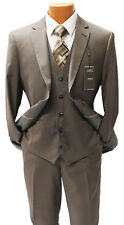 Angelo Rossi Brown Pinstripe Vested Modern Fit Suit Mens Suits