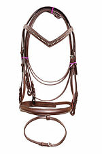 New snaffle leather bridle Brown with white diamonte + rein full, cob & Pony