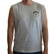New Men's Afends Rallod Logo Band Cut Muscle/Singlet Grey Marle