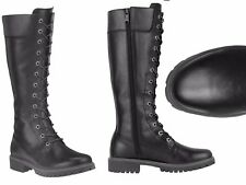 "TIMBERLAND WOMENS 14"" INCH PREMIUM BLACK SIDE ZIP WATERPROOF LEATHER BOOTS 8632A"