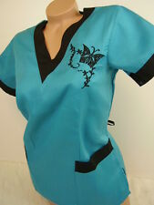 New Women Nursing Scrub Turquoise Black Embroidery Butterfly Poly/Cotton Top