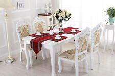Red Table Runner Placemat Set Damask Chenille Rhinestone for Home Party Decor