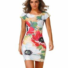 Women Colorful Flowers Print Design Short Sleeve Slim Mini Casual Party Dress U8