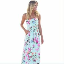 Women Off Shoulder Strapless Floral Printed Sleeveless Long Maxi Dress I770