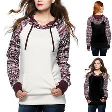 UK Womens Hooded Sweatshirt Long Sleeve Sweater Ladies Hoodies Loose Blouse Tops