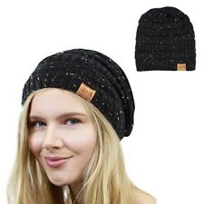 Thick Knitting Beanie Cap Unisex Winter Warm Skull Hat One Size Washable Black