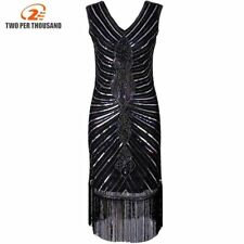 Women 1920s Diamond Sequined Embellished Fringed Great Gatsby Flapper Dress Slee