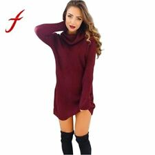 Feitong Womens Sweater Dress Casual Turtleneck Long Sleeve Bodycon Jumper Knited