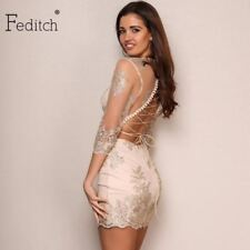 Feditch 2017 Newest Women Bodycon Dress Sexy Backless Bandage Hollow Out Vintage
