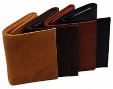 Mens Trifold Cowhide Leather RFID Blocking New Identity Theft Proof ID Wallet