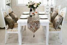 Cream Table Runner Cloth Flocked Cushion Placemat Set Chenille Kitchen Decors