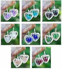 Eco Friendly ~ Recycled Vintage Glass ~ Silver Heart Cage Pierced Earrings