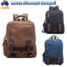 Mens Womens Vintage Canvas Backpack Schoolbag Shoulder Bag Laptop Bag Satchel AU
