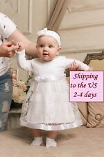 Baby Girl Baptism Dress Christening Gown Infant Toddler Wedding Party Dress