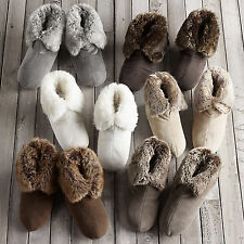 Restoration Hardware FAUX FUR Booties / Slippers with FREE STORAGE BAG / LARGE