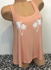 Victoria's Secret PINK Women's Tank Top Campus Palm Tree Orange NWT