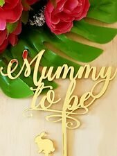Mummy to Be Cake Topper MADE IN AUSTRALIA Gold Mirror Acrylic Baby Shower Reveal