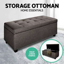 Blanket Box Storage Ottoman PU Leather Linen Fabric Foot Stool Chest Bench Bed O