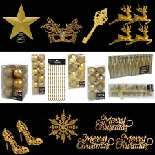 Gold Christmas Tree Decorations – Baubles Hearts Cones Beads Hooks