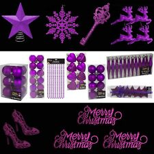 Purple Christmas Tree Decorations – Baubles Hearts Cones Beads Hooks