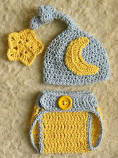 Baby Blue Moon & Star crochet baby Photo Prop Hat & Diaper Cover Set 100% Cotton