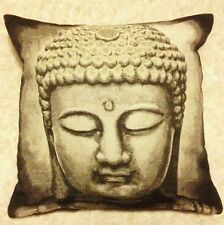 "18"" BUDDHA HEAD CUSHION IN CHOCOLATE & GOLD OR SILVER JACQUARD TAPESTRY EFFECT"