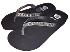 Yellow Box Womens Saydee Jeweled Rhinestone Sparkle Gray Flip Flops Sandals NWOB