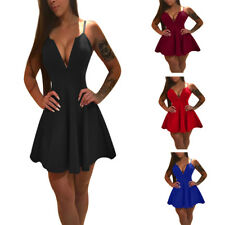 Fahion Women Sleeveless Deep V-Neck Sexy Evening Party Cocktail Short Mini Dress