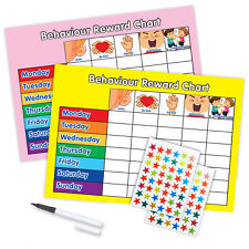 BEHAVIOUR REWARD TRAINING REWARD CHART WITH PEN & STAR STICKERS - Pink/Yellow