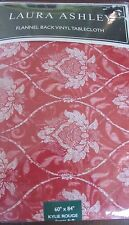 Laura Ashley Flannel Back Vinyl Tablecloth - Kylie Rouge - Red -  2 Sizes  NWT