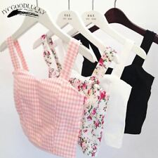 Dill Tank Top Female Cute Floral Crop Tops Women Black Sexy Halter Cropped Tops