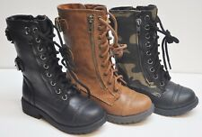 New Soda Dome 2 Kids Girls Military Lace Up Zipper Mid Calf Riding Combat Boots