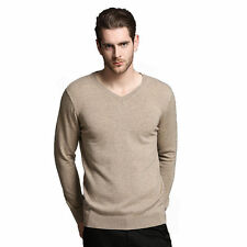 Men's 100% Pure Merino Wool Solid V-Neck Sweater Thermal Long Sleeve Pullover