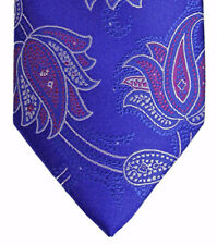 New TED BAKER Royal Blue Grey Purple Floral Paisley Necktie 100% Woven Silk Tie
