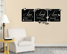 LIVE EVERY MOMENT Laugh Love Decal WALL STICKER Lettering Decor Art Quote SQ92