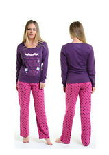 Womens Purple Pink PYJAMA SET Lounge Top Bottoms PJs Night Sleeping Plus Size