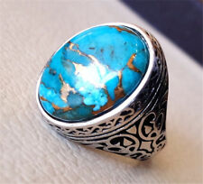 Women Men Turquoise 925 Silver Ring Jewelry Wedding Engagement Prom Size 6-10