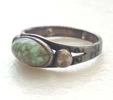 Vintage Navajo Old Pawn Sterling Silver Spiderweb Turquoise RING Whirling Logs